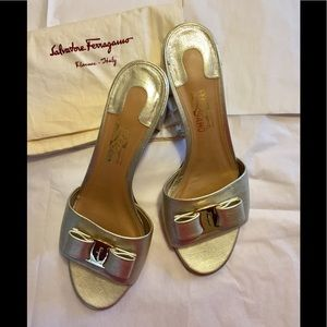 Women's Salvatore Ferragamo gold shoes